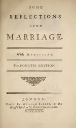Some Reflections Upon Marriage (title page)